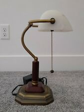 Bankers Desk Lamp, Piano Lamp, Alabaster Glass Shade, Bronze and Wood Lamp Base