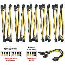1-10 PCI 8 pin female to Dual PCI-E 8 6+2 pin male GPU Power Cable Splitter EPS