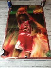 90s VTG NIKE AIR MICHAEL JORDAN 1991 Poster OG 5 Chicago Bulls MVP Dunk Ad Sign