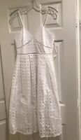 Donna Morgan Dress White Eyelet Lace Spaghetti Straps Size 4 NWT
