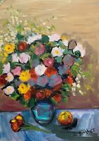 PRINT of Original oil painting art vase of flower expressionism shabby chic
