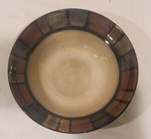 "Pier 1 Mosaic Soup Cereal Bowl 8 1/2"" Block Colors Rim Hand Painted Stoneware"