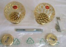 SET of 2 VINTAGE MURANO ITALIAN GLASS GOLD BUBBLE DOORKNOBS BEAUTIFUL - NOS