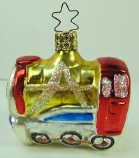 "Glass 340 Inge Glas Ornament West Germany Fancy Steam Locomotive 2-1/2"" Vintage"