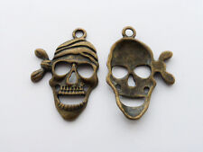 10 x Pirate Skull Charms Pendants Findings 27mmx19mm Antique Bronze LF Halloween
