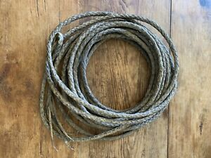 Vintage Vaquero Braided Rawhide Riata Reata Leather Rodeo Ranch Rope 38 ft