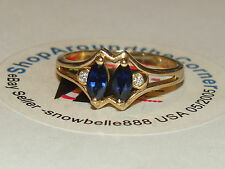 WOW! 14K SOLID YGold .50ctw Marquise Blue Sapphire Diamond Ring 2.7 Gms Sze 6.75
