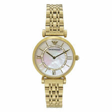New Emporio Armani Gold Tone Mother of Pearl Crystal Encrusted Dial Watch AR1907