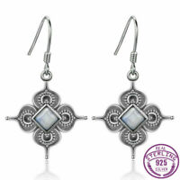 925 Silver Natural Square Moonstone Drop Dangle Hook Earrings Jewelry Wholesale