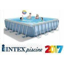PISCINA INTEX FUORITERRA 427x427x107 PRISMA FRAME QUADRATA POMPA SCALETTA FULL