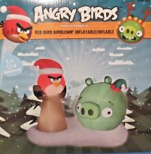 NEW 5 FT TALL ANGRY BIRDS CHRISTMAS RED BIRD AND GREEN PIG INFLATABLE BY GEMMY