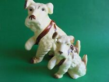 VINTAGE SYLVAC TERRIER DOG WITH PAW IN SLING RARE COLOUR AND SIZE c1940's