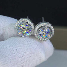 14K White Gold Finish 4.20Ct Round Cut Moissanite Push Back Halo Stud Earrings