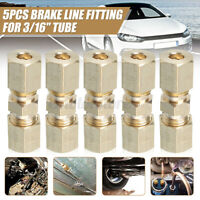 """5 Pcs 3/16"""" OD Brass Compression Fitting Connector Hydraulic Brake Lines Union"""