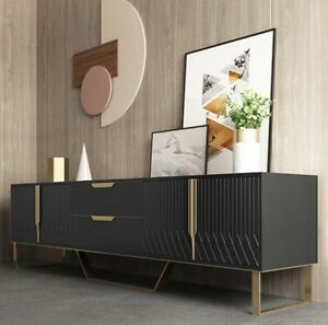 Martina Modern TV Stand & Coffee Table Set Black With Stainless Steel Gold Legs