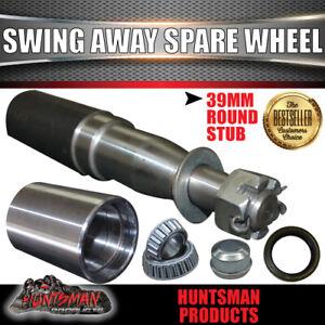REAR BAR SWING AWAY SPARE WHEEL BRACKET KIT WITH 39 X 200MM ROUND STUB AXLE 4WD