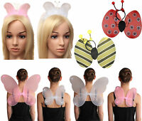 Girls Pink White Hen Party butterfly Wings With glitter Fairy School Fancy dress