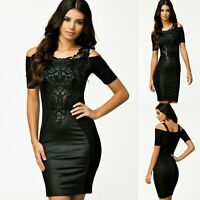 Sexy Black w Lace Short Sleeve Cocktail Party Dance Club Slim Formal Dress 8 10