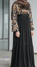 ✿Girl in Hijab Silk &Lined Long Maxi Party Dress Abaya Muslim Jilbab Size 8-10