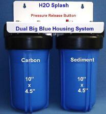 "Big Blue 10"" Dual (Blue) Whole House Water Filter / RO 1"" Ports H2O Splash"