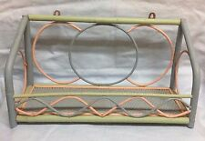 Vintage Unusual Rattan Bamboo Wicker Wood Pastel Color Shelf Hang Or Stand