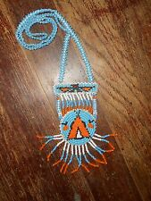 Vintage Authentic Native American Indian Hand Made Seed Bead Tribal Necklace