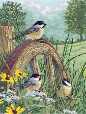 Cross Stitch Kit ~ Janlynn Meadow's Edge Chickadees in Summer Field #008-0203