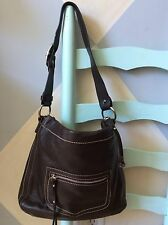 womens handbags and purses/Celsius Dark Brown Leather Shoulder Bag
