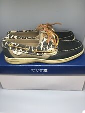 Sperry Women's Bluefish Leather Sparkle Leo Black Boat Shoes 8.5 - SOLD OUT