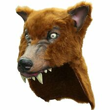 Brown Wolf Helmet Hat Warrior Viking Indian Chief Werewolf Latex Fur Costume Cap