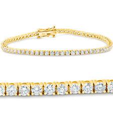 """3 CT Diamante 18K Oro Amarillo Corte Redondo Tenis Pulsera 7"""""""