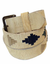 """Polo Belt """"Inca"""" 100% Argentine Embroidered Leather - Rawhide"""