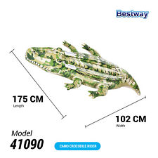 Bestway Ride on Swimming Pool Crocodile Inflatable Rider Beach Toy Lilo Float