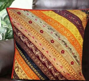 Floor Embroidered Pillow Cushion Square Sofa Pillow Cover Indian Patchwork Cover