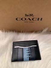 Coach Slim Card Case Holder Baseball Stitch Midnight Leather F77934 New Blue