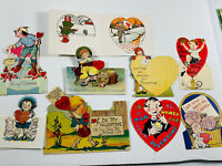Antique vtg Valentines 28 Lot of (9) German Diecut Folding Standing Cards WW1