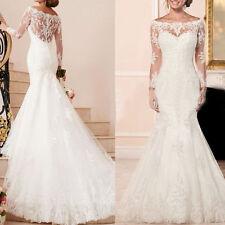 2017 New Mermaid White/ivory Long sleeves  wedding dress Bridal Gown custom