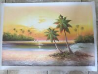 Original Oil Painting Palm Tree 24 x 36 Inches