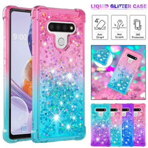 For LG Stylo 6 5 4 Plus K51 K31 Case Clear Liquid Glitter Shockproof Cover