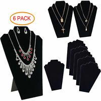 6pcs NECKLACE JEWELRY DISPLAY STAND Black Velvet Pendant Holder Mannequin USA