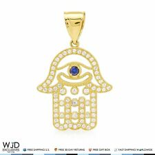 10K Yellow Gold 2.50Ct Diamond And Blue Sapphire Hamsa Evil Eye Charm Pendant