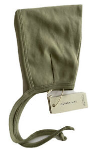 Designer QUINCY MAE Pixie Bonnet in Basil 100% Organic Cotton Tie Neck Baby 0-3
