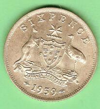 1959  AUSTRALIAN SILVER SIXPENCE COIN