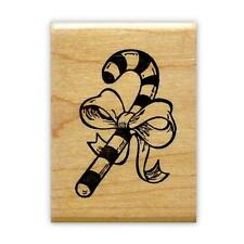 Christmas CANDY CANE with BOW mounted rubber stamp, holiday #7