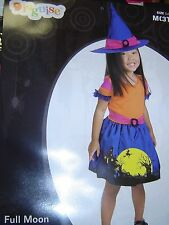 Halloween TODDLER Costume 3T - 4T CHILD FULL MOON WITCH Orange Purple HOT Pink