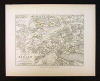1855 Alison Military Map - Napoleon Battle of Zurich 1799 - Switzerland Europe