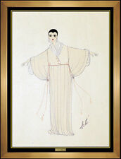 ERTE Original Gouache Painting Art Deco Costume Dress Design Signed Fashion Art