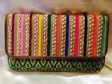 Multi Coloured Green Handbag Clutch Wallet Bollywood Indian Sari Purse Art Silk