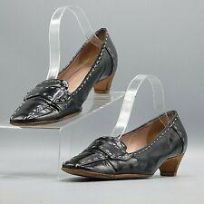 Prada Women Black Patent Leather Contrast Stitch Heel Pumps Flat Shoe EU 39 US 9