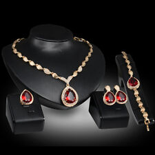 Garnet Sapphire Gem Gold Plated Necklace Earring Bracelet Ring Jewelry Set